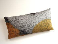 Lumbar Pillow - 8x16 Petite Lumbar - Black, Grey, Orange and Gold - Throw Pillow Cover