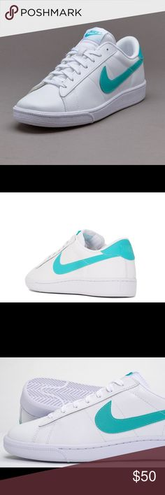 Nike men's shoes Brand New Nike Tennis Classic CS Mens Sneakers Without The Original Box. Style: 683613-105  White / Clear Jade - White  Clean, comfortable, classic... Tennis Classic that is. Nike's Tennis Classic CS is as simple as it gets, with a soft, full-grain white leather upper with a contrasting swoosh, heel tab and tongue tag. A rubber cupsole provides lightweight cushioning, a herringbone pattern for on-court traction and timeless styling that would be right at home on the grass…