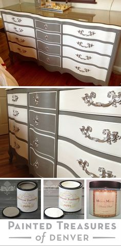 Gorgeous Gray & White dresser makeover! I painted this dresser with Heirloom Tradition's Thunderous and A la Mode chalk type paints, protected it with Precious Pearl Top Coat. I spray painted the hardware with Rust Oleum metallic spray paint. Get these colors at PaintedTreasuresDenver.com