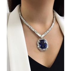 Another beauty from our upcoming Magnificent Jewels Sale : A 90.97ct Ceylon unheated #sapphire and diamond pendant necklace #ChristiesJewels #ChristiesHK
