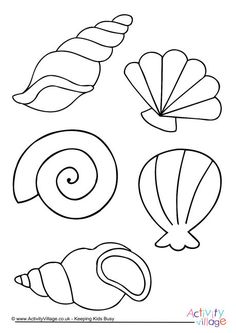Sea Shell Coloring Page Lovely Shell Colouring Page Beach Crafts, Summer Crafts, Seashell Crafts, Felt Crafts, Paper Crafts, Mermaid Theme Birthday, Drawing For Kids, Easy Drawings, Baby Quilts