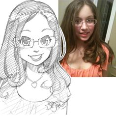 MeG_16 Sketch by Banzchan American artist Rober DeJesus turns stranger's photos into anime versions of themselves