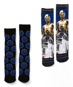 Take a look at this Blue & Black C-3PO & R2-D2 Socks Set - Men on zulily today!
