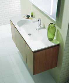 Linea Teakwood Bathroom Furniture Unit & Basin from Crosswater http://www.bauhaus-bathrooms.co.uk/product/linea-teakwood/linea-round-100-unit-and-basin-teakwood/