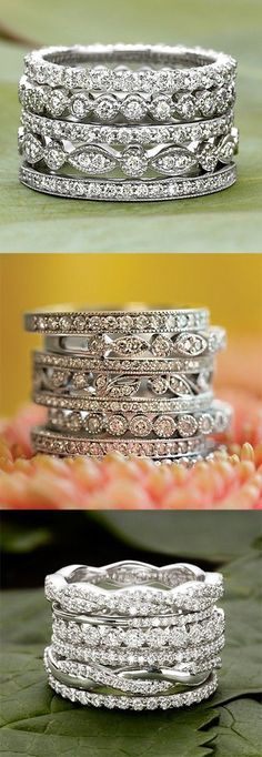 Love these dazzling, diamond wedding bands.                                                                                                                                                                                 More