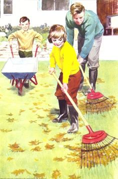 Raking those vintage leaves...the ones that keep reappearing every Fall.