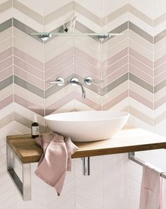 Inspiration from Bathrooms.com: pastel pink tile goals