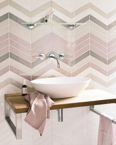 Inspiration from Bathrooms.com: pastel pink tile goals