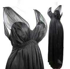 Black Chiffon vintage nightgown by Vanity Fair