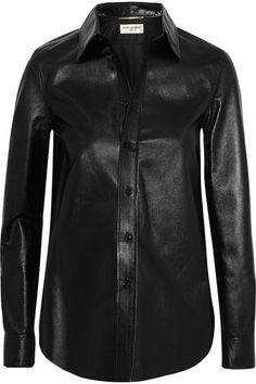 saint laurent glossed leather shirt | fall 2015