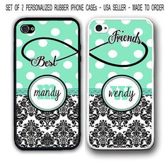 PERSONALIZED MINT POLKA DOTS DAMASK BFF Best Friends 2 Cases For iPhone X 8 7 6 Best Friend Cases, Bff Cases, Friends Phone Case, Ipod Cases, Cute Phone Cases, Best Friends, Funda Iphone 6s, Iphone 7, Iphone Phone Cases
