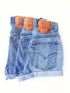 Levis High Waisted Denim Shorts Cheeky High Cut Hipster Shorts - Vintage Jeans - Custom Made