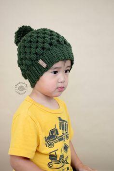Crochet projects: Crochet Puff Stitch Beanie with Pom Pom
