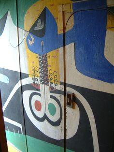 Mural inside Corbusier's cabin on the Mediterranean.