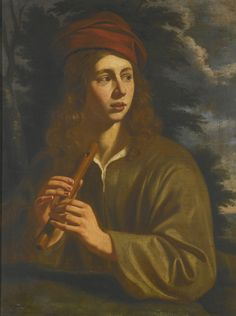 """Young Man with a Flute"" by an artist of the Utrecht School (17th century)"