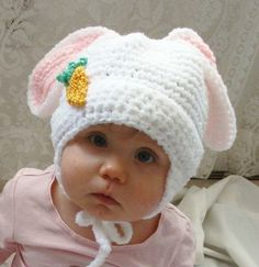 Fluffy Bunny Hat PDF Crochet Pattern for by SandysCapeCodOrig, $4.95