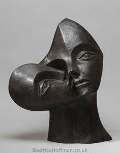 Bronze-resin Mother and Child, the Madonna, mother and children sculpture by artist Beatrice Hoffman titled: 'Nurturing (Abstract Mother and Child Outdoor Statue)' £1980 #sculpture #art
