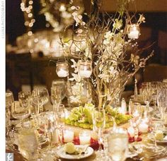 Curly willow centerpieces with hanging votives
