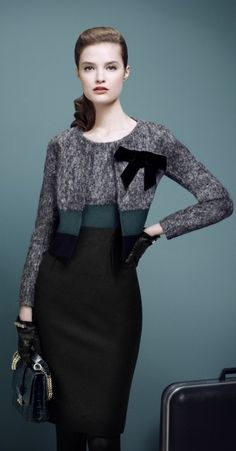 Work chic: matching bolero & dress in 3 colors. Office Fashion, Work Fashion, Fashion Design, Business Attire, Business Fashion, News Fashion, Work Chic, Work Attire, Outfit Work