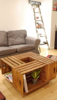 Low table / Table basse  Low table made out of apple wood baskets