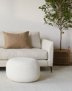 Our Tide ottoman can now be upholstered in boucle Fabio fabric. There are eight colourways to choose from including 'Ivory' and 'Umber' (pictured). Tide ottoman available in three sizes and made to order in New Zealand. Love Seat, New Homes, Ottoman Furniture, House Design, Couch, Contemporary, Canning, Living Room, Interior Design