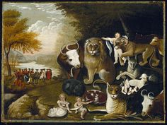Edward Hicks, The Peaceable Kingdom (1826). Hicks was an American folk painter and a Quaker ~  Hicks painted 61 versions of this composition. The animals and children are taken from Isaiah 11:6-8 (also echoed in Isaiah 65:25), including the lion eating straw with the ox. ~ I loved this painting as a child.