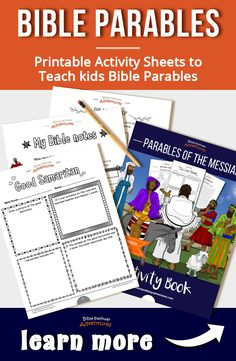 Bible Parables for Kids activity book | Printable parable activity sheets and coloring pages for kids | Bible parables about Jesus (Yeshua) | Instant download! Bible Resources, Bible Activities, Activities For Kids, Kids Activity Books, Activity Sheets, Puzzles For Kids, Worksheets For Kids, Bible Parables, Adventure Bible
