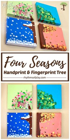Four Seasons Handprint and Fingerprint Tree Art - kindergarten! - This four season hand and fingerprint tree is a DIY keepsake craft and gift that kids can make. Crafts To Do, Easy Crafts, Hand Crafts For Kids, Craft Projects For Kids, Diy Arts And Crafts, Creative Crafts, Keepsake Crafts, Diy Y Manualidades, Fingerprint Tree