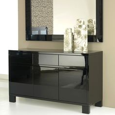 Entrance - Furniture    Like the glossy finishing.  Maybe will prefer a round, rocco style mirror over this clean, sleek, minimalist feel to make it more welcoming.