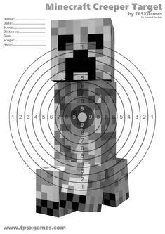 Printable Minecraft Creeper target