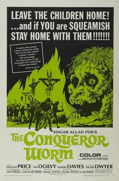 "posterframe: ""The Conqueror Worm "" Witchfinder General Vincent Price's best film of the and a great Tigon movie Horror Movie Posters, Movie Poster Art, Horror Films, Cinema Posters, Horror Stories, Retro Horror, Vintage Horror, Pop Punk, The Conqueror Worm"