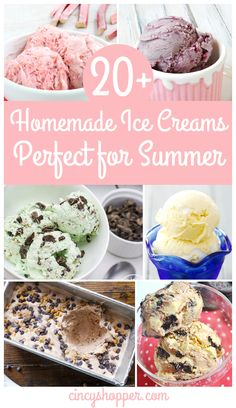 20+ Homemade Ice Creams - that are perfect for summer. All of these are no churn recipes so NO ice cream machine is needed! So simple and full of some really great flavor combinations.
