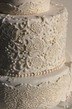 wedding cake with lace frosting