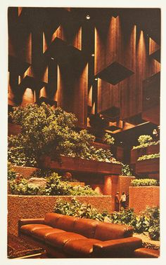 Vintage 1970s Mid Century Architecture Playboy Club Hotel - just guessing the floor is brown