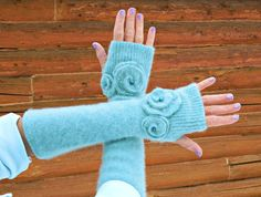 Your place to buy and sell all things handmade Sweater Mittens, Old Sweater, Sweaters, Turquoise Glass, Fabric Paper, Mitten Gloves, Modest Outfits, Jumpers, Scarfs