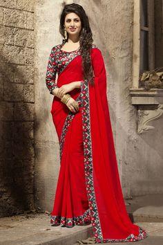 #DivyankaTripathi Red Printed Border Work #DesignerSaree