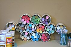 Paint storage with PVC tubes | 17 Ways to Organize Your Craft Supplies | Brit + Co