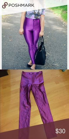 """Disco pants Form-fitting, high-waist stretch pants made from a heavyweight Nylon/Elastane blend that creates a flattering slimming effect. • Nylon Spandex (90% Nylon / 10% Elastane) construction • Medium is approximately 30"""" (76.2cm) in total length • Metal zipper and button closure • Dual back pockets • Form-fitting • When in doubt on sizing, order down • Color violet American Apparel Pants Skinny"""