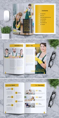 Cleaning service company brochure template is help you to promote your cleaning service with marvellous design. Company Brochure Design, Graphic Design Company, Flyer Design, Logo Design, Cleaning Flyers, Cleaning Services Company, Cleaning Companies, Brochure Layout, Brochure Template