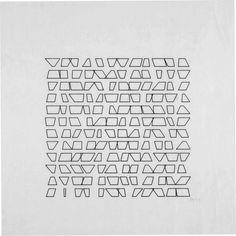 Vera Molnar     144 Trapèzes (144 Trapeziums)     1974   computer graphic, open series, 16 variations, all sole copies   print: each +/- 20 x 25 cm