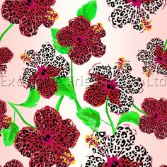 RO142 Shaded Floral Red | Printed Lycra Fabric | Printed Fabric | Stretch Fabric | Funki Fabrics | Floral Print