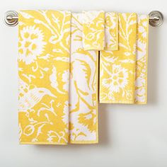 Yellow/White Parnavi Towel Collection | World Market. Also really feeling these yellow/white towels too. So bright and cheery!