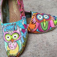 Custom Toms Whimsical Owl Shoes, Handpainted Owls Slip-on Flats, Rhinestone Crystals Wisdom Spirit Animal, Owl Lover Gift, Princess Birthday Hand Painted Toms, Painted Canvas Shoes, Painted Owls, Painted Sneakers, Owl Shoes, Vans Shoes, Ballerinas, Sharpie Shoes, Sharpie Art