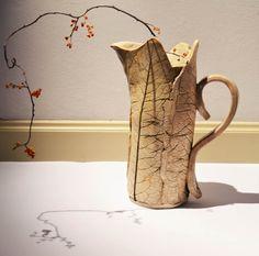 Ceramic jug vase leaves nature white cream rustic by EMuuGallery