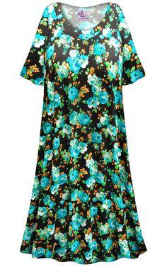 e4a16a556d SALE! Customizable Black with Blue Roses Print Plus Size   SuperSize Muumuu  - Moo Moo Dress 0x 1x 2x 3x 4x 5x 6x 7x 8x 9x