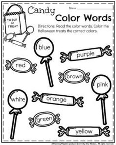 October Kindergarten Worksheets - Candy Color Words The October Kindergarten Worksheets are here, and they are AWESOME! Add a bit of Cutesy Spooky to your classroom this month with these fun printables. English Worksheets For Kindergarten, Preschool Learning, Kindergarten Worksheets, Preschool Activities, Color Worksheets For Preschool, Preschool Centers, Preschool Art, Teaching Art, Kindergarten Colors