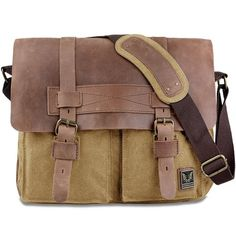 TOP-BAG® New Vintage Canvas Leather Schoolbag Military Shoulder Crossbody Messenger Bag, MC2138K-5 (Khaki)