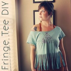 DIY fringe shirt, made some. They turned out awesome and no need to worry about cutting lines that aren't straight.