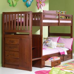 Discovery World Furniture Weston Twin over Twin Staircase Bunk Bed with Storage