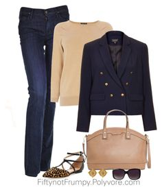 """""""Navy and Camel"""" by fiftynotfrumpy ❤ liked on Polyvore featuring Citizens of Humanity, Renvy, Warehouse, Topshop, MANGO, Merona and Susan Shaw"""